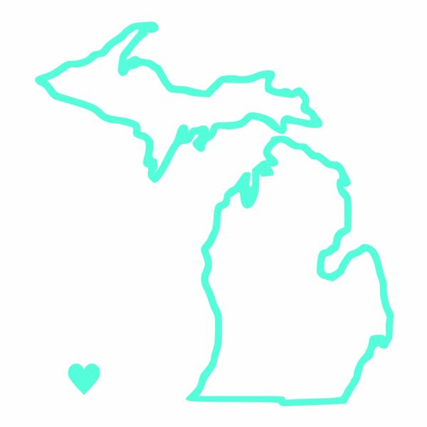 Michigan Map Outline Heart Vinyl Car Decal - Michigan Outline - Michigan Decal - Michigan Heart Decal