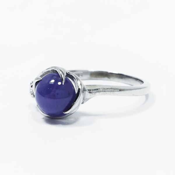 14k White Gold Simulated Star Sapphire Cubic Zirconia Cocktail Right Hand Ring Size 6.5