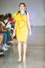 Yellow Ruffle Scuba Dress