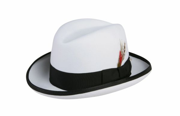 Deluxe Homburg in White with Black Band #NHT25-70B