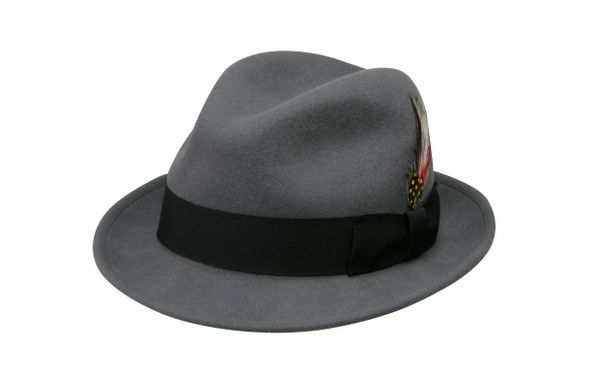 Jake Crushable Pinchfront Fedora Hat in Grey with Black Band #NHT34-02B