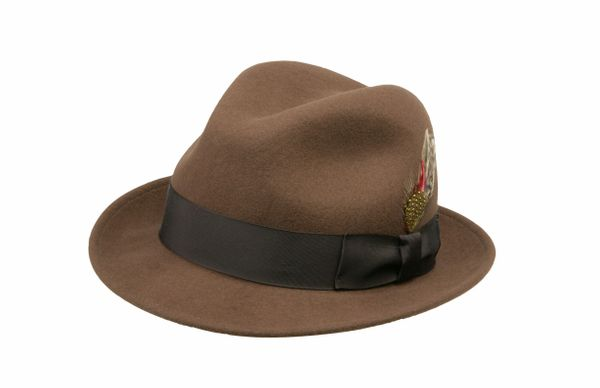 Jake Crushable Pinchfront Fedora Hat in Pecan with Brown Band #NHT34-15