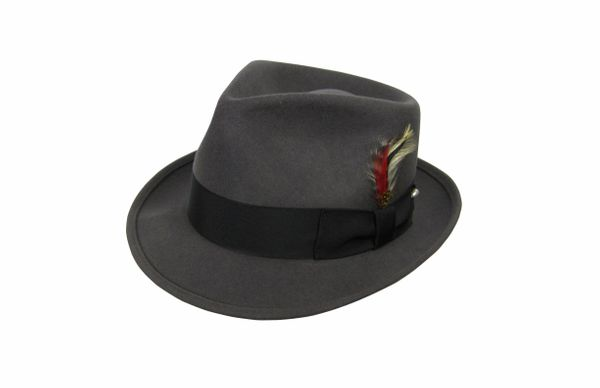 Deluxe Pinchfront Fedora Hat in Steel Grey with Black Band #NHT26-02B