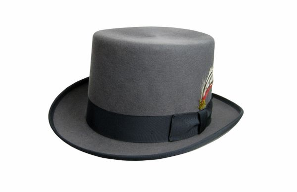 Deluxe Morfelt Top Hat in Steel Grey with Black Band #NHT30-02B
