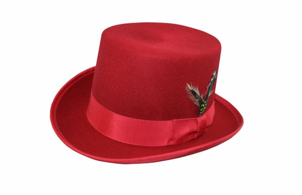 Deluxe Morfelt Top Hat in Cardinal Red #NHT30-50
