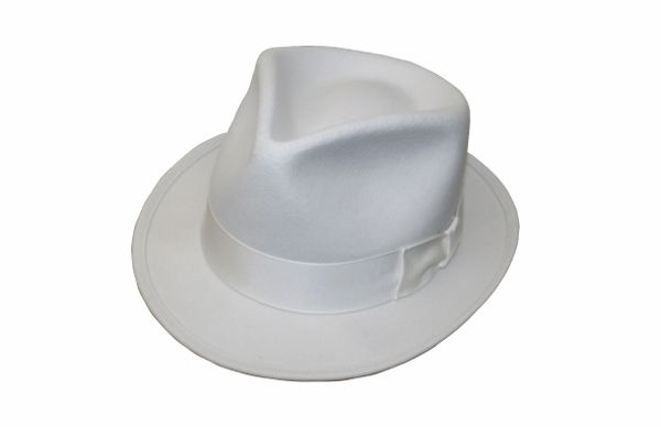 Goodfellas Pinchfront Fedora Hat in White #NHT26-70