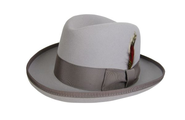 Deluxe Homburg in Rain Drop Silver with Tan Band #NHT25-12