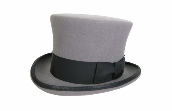 Cambridge Top Hat in Heather Grey with Black Band #NHT36-02B