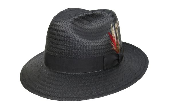 Miami Lite Straw Fedora Hat in Black #NHT50-01