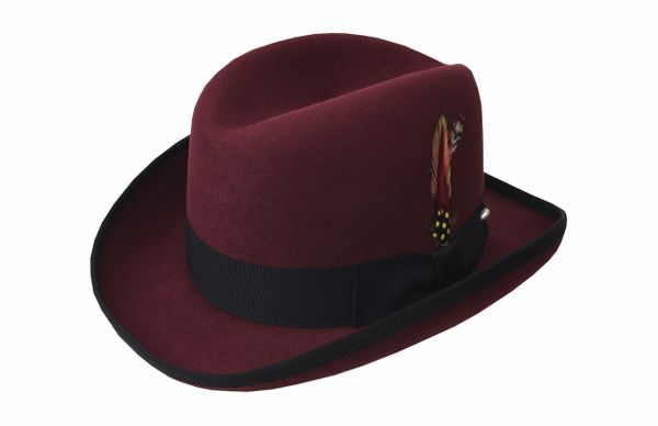 Deluxe Homburg in Bordeaux with Black Band #NHT25-45B