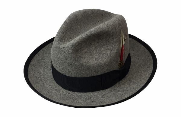 Deluxe Gangster Fedora Hat in Oxford Grey with Black Band #NHT23-03B