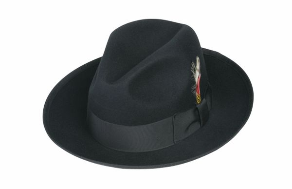Deluxe Gangster Fedora Hat in Black #NHT23D-01
