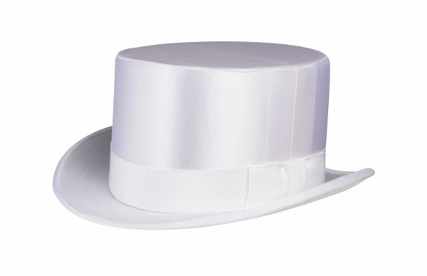 NON - Collapsible Silk Satin Top Hat in White #NHT17-70