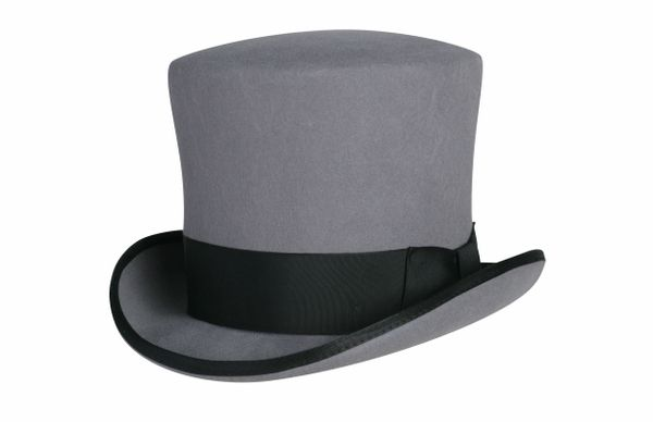Victorian Caroler Tall Top Hat in Heather Grey w/ Black Band #NHT18-02B