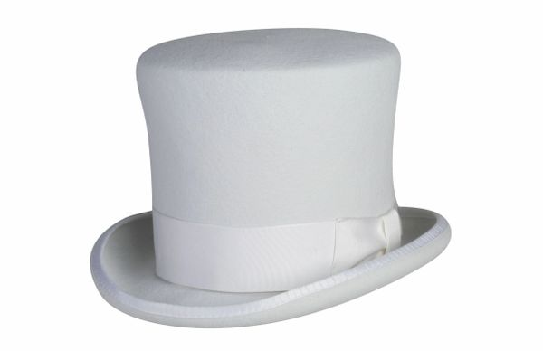 Victorian Caroler Tall Top Hat in White #NHT18-70