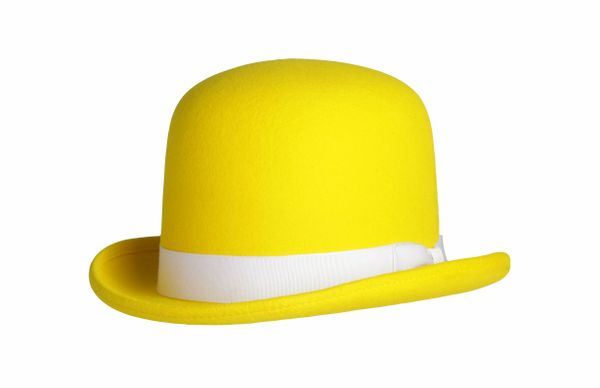 Tall Derby Bowler Hat in Yellow #NHT09-13