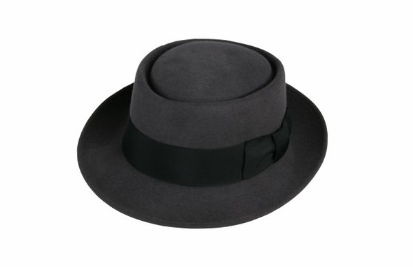 Classic Pork Pie Hat in Steel Grey with Black Band #NHT27-02B