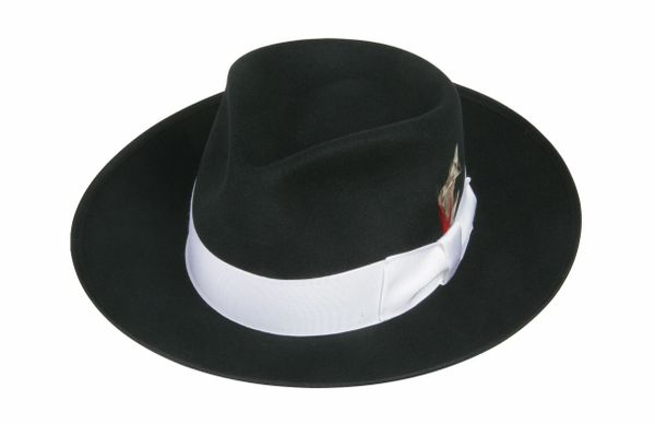 Zoot Fedora Hat in Black with White Band #NHT19-01W