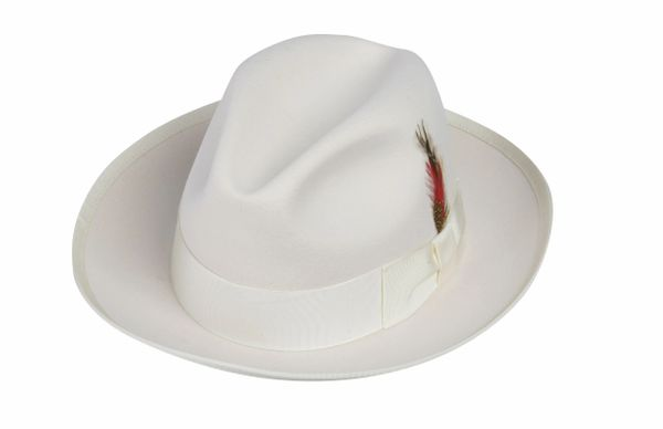 Gangster Fedora Hat in Ivory #NHT23-71