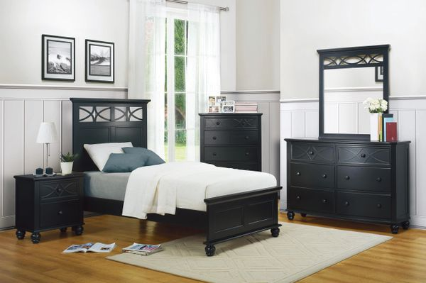4 Piece Cottage Black Wood Bedroom Set from Sanibel Collection  (KSWXE2119TBK)