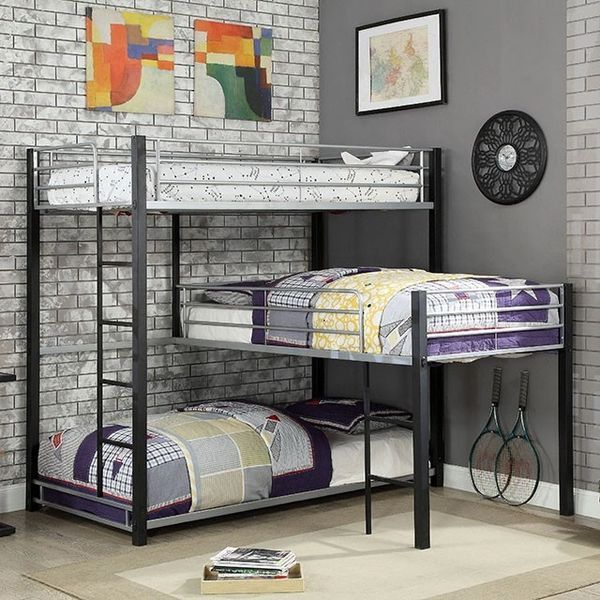 Industrail Style 3 Tier Bunk Beds From The Aubrey Collection Kswxoacmbk919