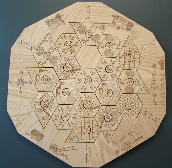 Custom Laser Engraved Designed Regular Size Catan Oak Wooden Game Board