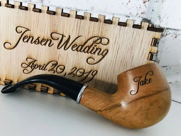 Custom Engraved Personalized Light Wood Tobacco Pipe Engraved Gift Box Set