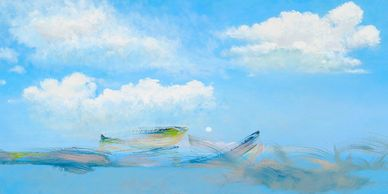 Steve Alpert, oil on canvas art, oil on canvas artworks, fish, flying fish