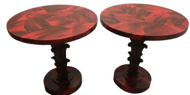 art deco serge roche style tables, art deco tables, palm tree base tables
