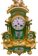 unique vintage clock, antique 19th century gilt clock, clock, gold gilt clock