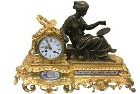 french porcelain clock, vintage porcelain clock, bronze gilt clock, clock, antique 19 century clock