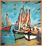 Coe, impressionism - boats, colorful, framed art, board