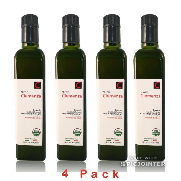 Nicola Clemenza | Organic Extra Virgin Olive Oil | 500mL (17 FL OZ) Pack of 4 - Harvest 2018/19 | B.B. 09/13/21