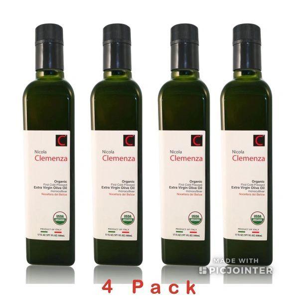 Nicola Clemenza | Organic Extra Virgin Olive Oil | 500mL (17 FL OZ) Pack of 4 - Harvest 2017/18 | B.B. 10/30/19