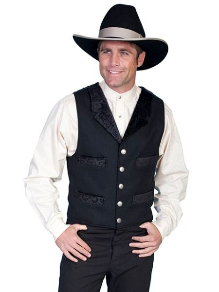 WahMaker Four Pocket Wool Vest With Embossed Trim