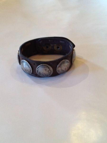 Buffalo & Indian Head Leather Bracelet