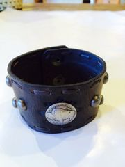 Leather Cuff With 1930's Buffalo Nickel & Domes