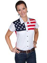 Patriot Stars & Stripes Short Sleeve Blouse