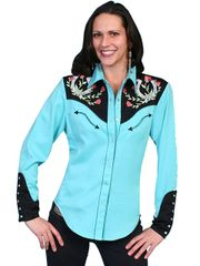 Legends Snap Front Blouse with Embroidered Yoke