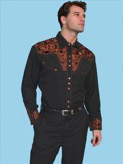 Legends Tooled Floral Embroidered Shirt - Black