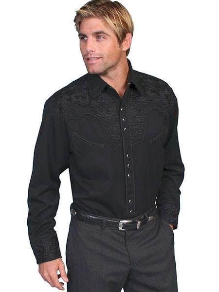 Legends Tooled Floral Embroidered Shirt - Jet Black