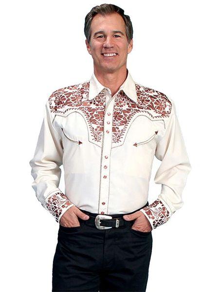 Legends Tooled Floral Embroidered Shirt - Natural