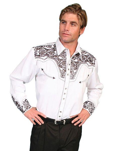 Legends Tooled Floral Embroidered Shirt - Pewter