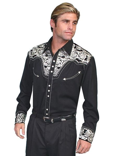 Legends Tooled Floral Embroidered Shirt - Silver