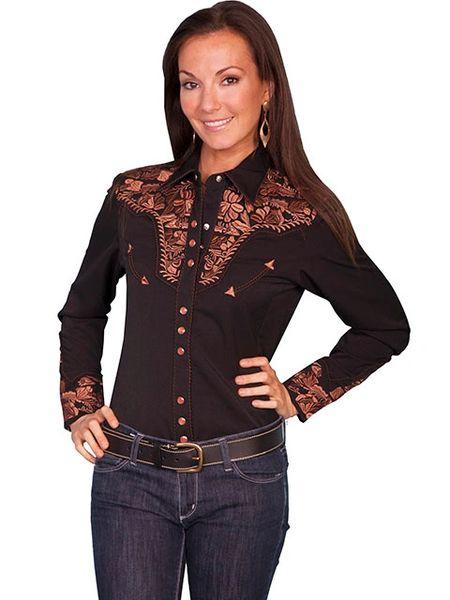 Legends Embroidered Floral Shirt -Black