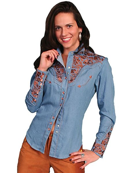 Legends Embroidered Floral Shirt -Blue