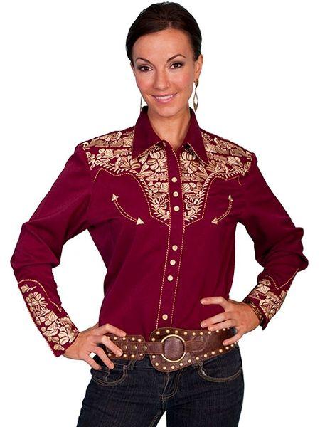 Legends Embroidered Floral Shirt - Burgundy