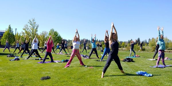 Outdoor Yoga Class at Free Spirit in the Old Mill District