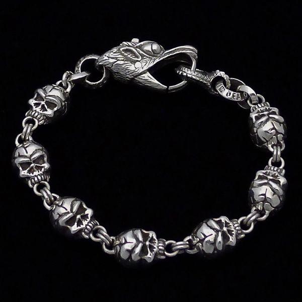 44. Skulls - Sterling Silver Bracelet