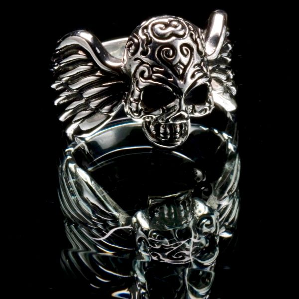60. Skull with Wings - Sterling Silver Ring